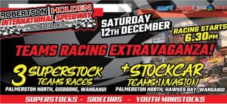 12 December PN v Gisborne v Wanganui Superstock Teams + Stockcar Teams Invasion
